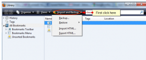 import export and restore bookmarks