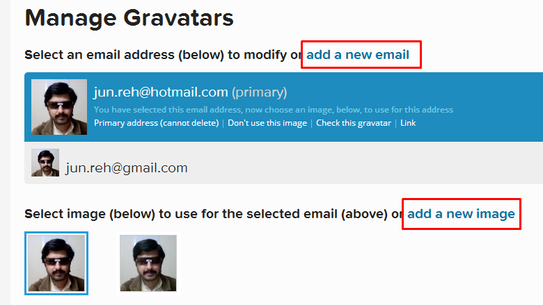 Add new email address and avator