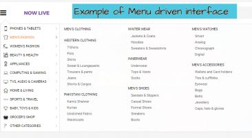 Example of menu driven interface