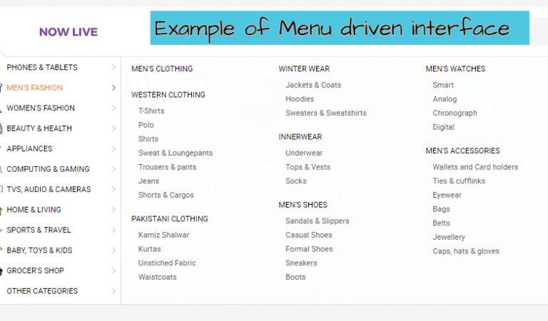 Advantages and disadvantages of menu driven interface